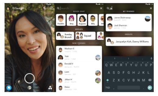 Snapchat ajoute une barre de recherche